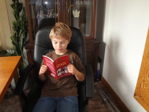 Jesse reading my book