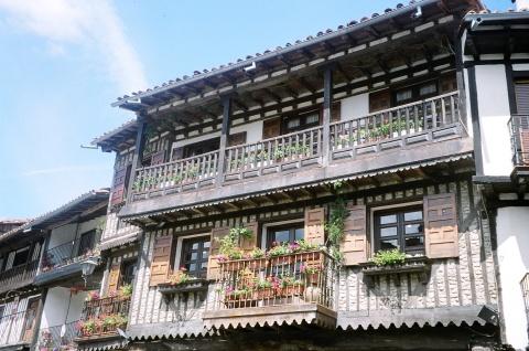 flower strewn balcony