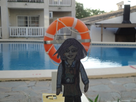 Flat Ruthie at the pool in Spain
