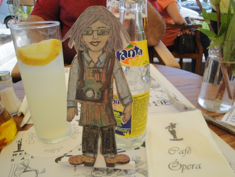 Flat Ruthe enjoying a Fanta Lemonade at the Opera Restaurant in Altea