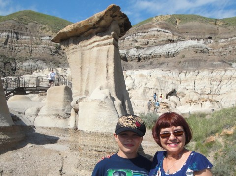 With Grandson at the HooDoos near Drumheller