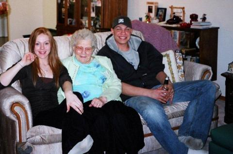 Great Aunt Barbara with my Granddaughter and Grandson-inlaw
