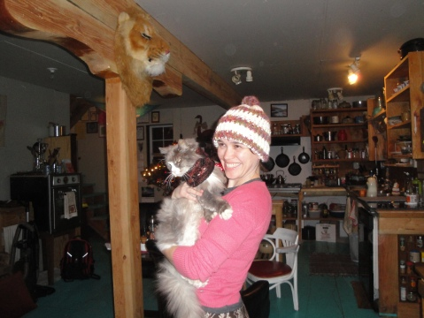 Daughter with 18 year old grandcat Barnsworth