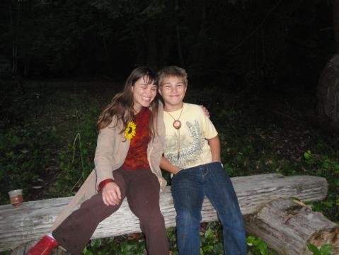 Aunt and nephew on her island; good buddies