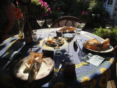 Dinner under the pergola