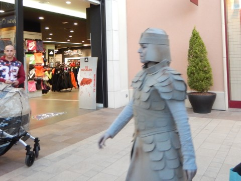 A terracotta warrior rushing to get into place