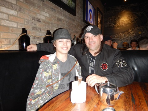 Lunch with my son and rapidly growing up grandson