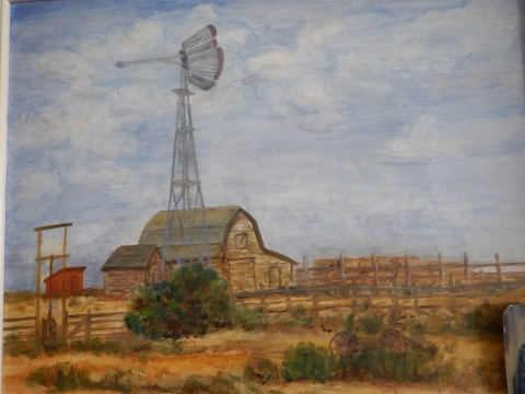 The barn on the homestead painted by Great Aunt Hilda
