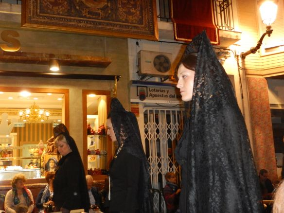 Women wearing Mantillas